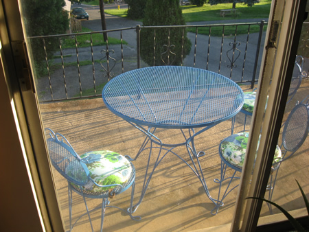 Blue outdoor Metal table