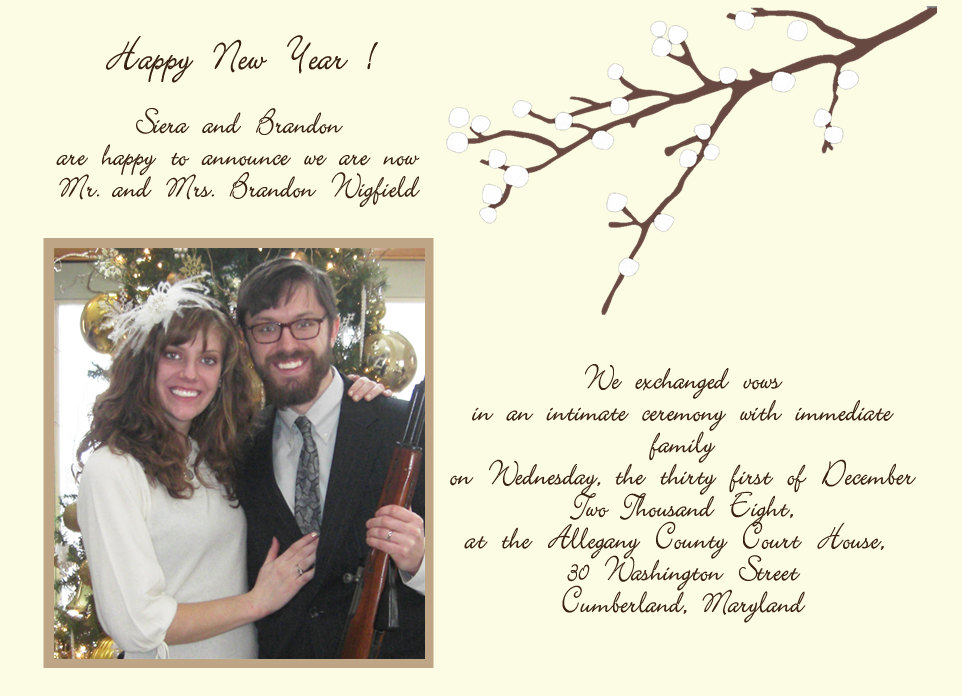 Wigfield Wedding Announcement Winter